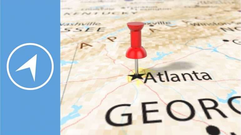 Atlanta Georgia team building locations- thumbtack on map
