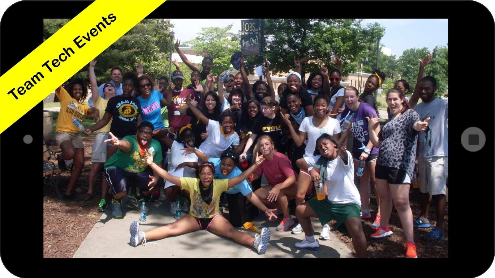 College students celebrating after campus scavenger hunt